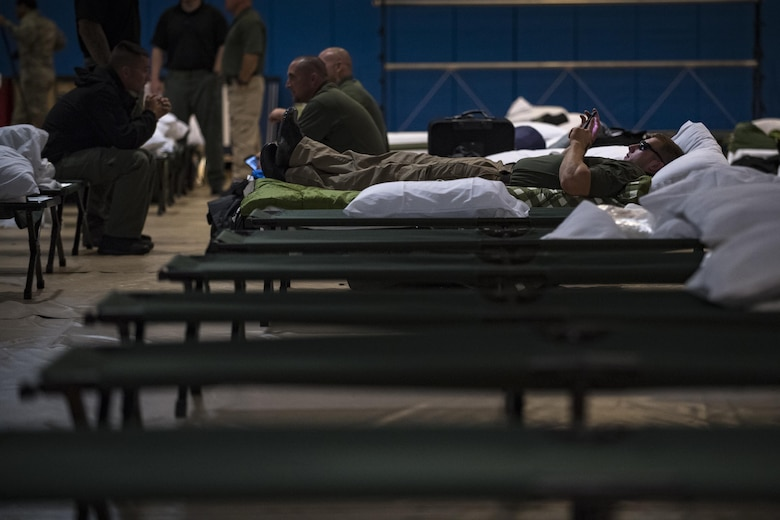 Members from various federal law enforcement agencies rest and relax before deploying to areas affected by Hurricane Irma, Sept. 10, 2017, at Moody Air Force Base, Ga. Moody Air Force Base hosted approximately 400 members from 14 different federal agencies who will deploy to conduct security or search and rescue missions in areas effected by Hurricane Irma. (U.S. Air Force photo by Airman 1st Class Daniel Snider)