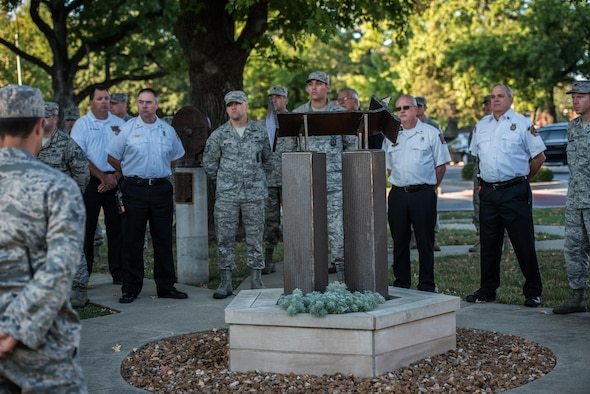 The 9/11 Reveille begins the work day, as service members remembered those affected by the 2001 terror attacks, Sept. 11, 2017, Scott Air Force Base, Ill. Scott remembered those affected by the terrorist attacks on Sept. 11 through a 9/11 reveille, a Belleville Memorial dedication, and a presentation by Chuck Rosenberg, former U.S. attorney of the Eastern District of Virginia. (U.S. Air Force photo by Cristopher Parr)