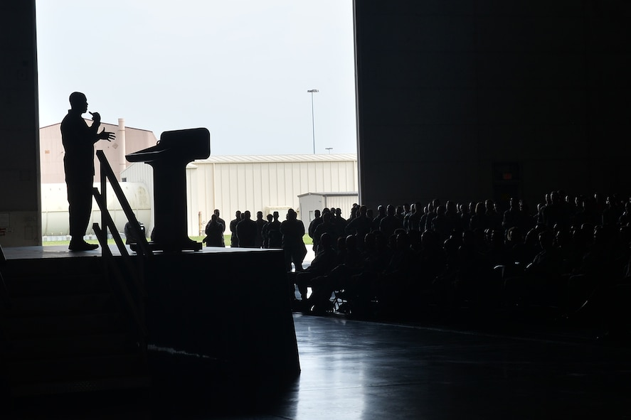 Chief Master Sgt. of the Air Force Kaleth O. Wright speaks to Team Offutt members inside Dock 1 of the Bennie Davis Maintenance Facility on Offutt Air Force Base, Nebraska, Sept. 1, 2017.