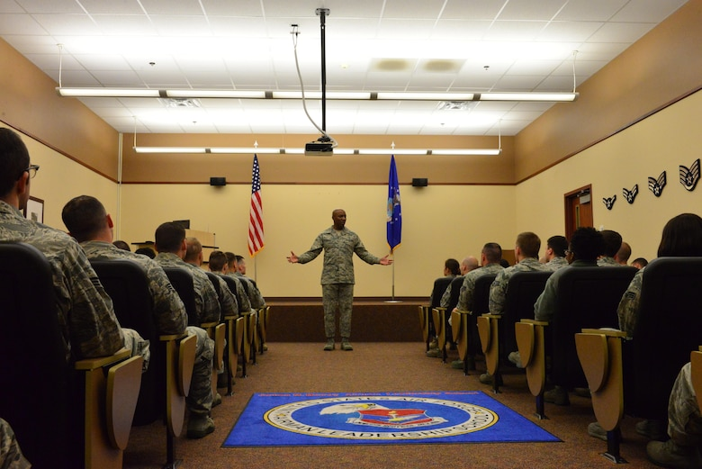 Chief Master Sgt. of the Air Force Kaleth O. Wright addresses students at the James M. McCoy Airman Leadership School at Offutt Air Force Base, Nebraska, Sept. 1, 2016. This was Wright's first visit to Offutt since becoming chief master sergeant of the Air Force.