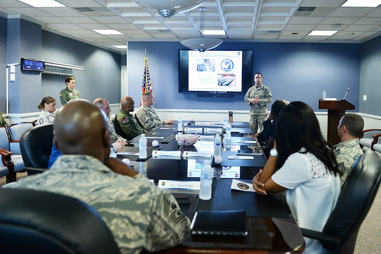 Maj. Michael Shick, 55th Wing warrior advocacy director, speaks to Chief Master Sgt. of the Air Force Kaleth O. Wright during a briefing held in the 55th Mission Support Group headquarters building on Offutt Air Force Base, Nebraska, Sept. 1, 2017.