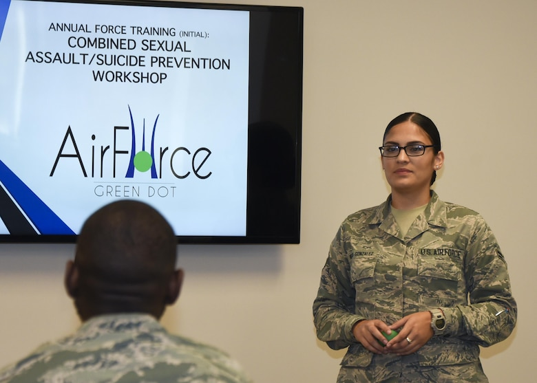 Airman 1st Class Natalie Nieves-Gonzalez teaches a class for the Air Force Green Dot initiative Aug.31, 2017 at Warfield Air National Guard Base, Middle River, Md. The program focuses on sexual assault and suicide prevention. (U.S. Air National Guard photo by Senior Airman Enjoli Saunders)