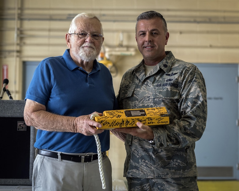 Retired U.S. Air Force Chief Master Sgt. Homer Wells, a former chief of maintenance with the 182nd Tactical Air Support Group, and Lt. Col. Steven Rice, the deputy commander of the 182nd Maintenance Group, pose for a photo during a ceremony honoring his service in Peoria, Ill., Aug. 24, 2017. Wells enlisted in 1947 and retired in 1984 with 37 years of service with the Illinois Air National Guard. (U.S. Air National Guard photo by Tech. Sgt. Lealan Buehrer)