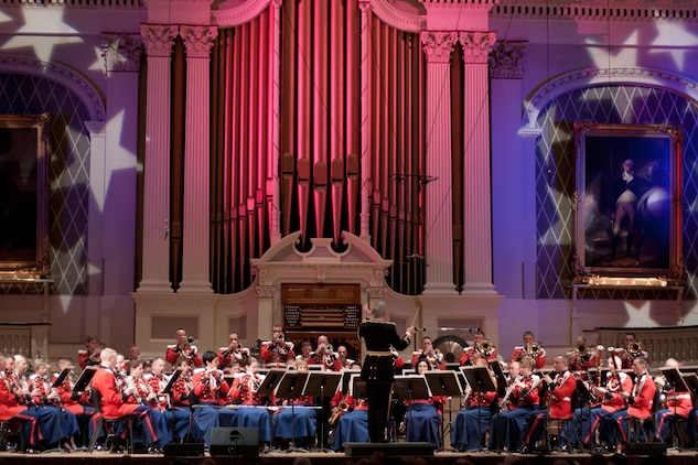 The Marine Band on tour in Mechanics Hall in Worcester, MA