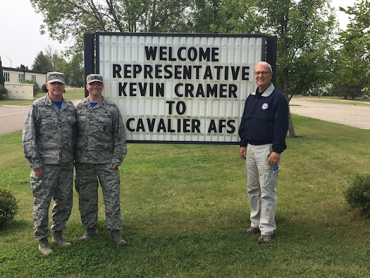 CAVALIER AIR FORCE STATION, N.D. – Rep. Kevin Cramer, a Republican from N.D., visits Cavalier Air Force Station, North Dakota, Aug. 18, 2017. Cramer was given a tour the 10th Space Warning Squadron and briefed on their missile warning and space surveillance missions and the numerous upgrades to the station. (Courtesy photo)