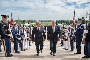 Defense Secretary Jim Mattis meets with Portuguese Defense Minister Jose Alberto Azeredo Lopat the Pentagon.