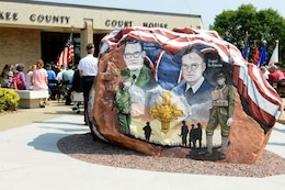 "This rock was painted and dedicated at Cherokee, Iowa during a ceremony that was part of the Freedom Rock Tour, September 10, 2017. The rock honors the service members past and present from Cherokee County, Iowa, and was painted by Ray ""Bubba"" Sorensen II as a tribute. This rock is part of a collective effort to place a Freedom Rock in each of Iowa's 99 counties. During the ceremony, Cherokee County native, and Commanding General of the 88th Regional Support Command, Maj. Gen. Patrick Reinert spoke about his service and the honor he has of being a veteran from Cherokee County."