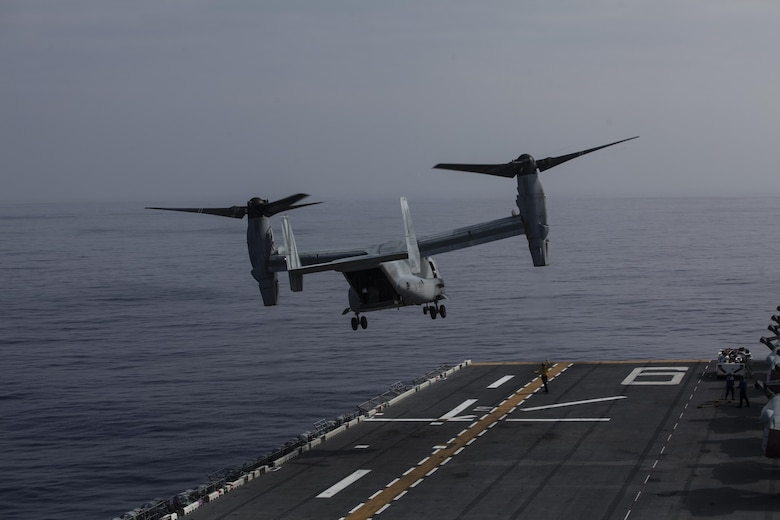 An MV-22B Osprey tiltrotor aircraft belonging to Marine Medium Tiltrotor Squadron 265 (Reinforced) departs the USS Bonhomme Richard (LHD 6) while underway in the Pacific Ocean, June 9, 2017.