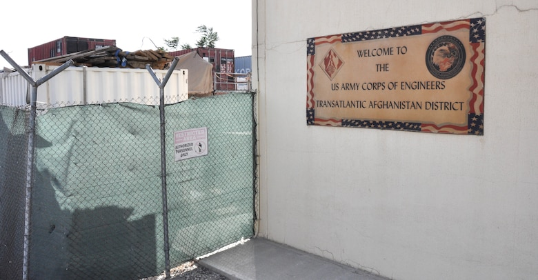 The U.S. Army Corps of Engineers' Transatlantic Afghanistan District sign outside their headquarters at Bagram Air Field in Afghanistan, Sept. 11. (Photo by Catherine Lowrey)