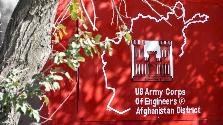 The U.S. Army Corps of Engineers' Transatlantic Afghanistan District t-wall outside their headquarters at Bagram Air Field in Afghanistan, Sept. 11. (Photo by Catherine Lowrey)