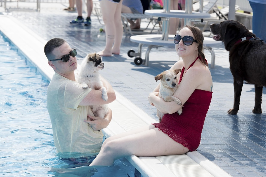 Staff Sgt. Michael Kelly, 374th Airlift Wing equal opportunity advisor, and his wife relax with their dogs in the pool during the Dog Days of Summer event at Yokota Air Base, Japan, Sept. 9, 2017.