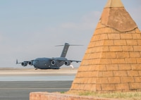A C-17 Loadmaster III lands at Borg El-Arab Air Base carrying U.S. Army Soldiers from 2nd Battalion, 7th Cavalry Regiment, 3rd Armored Brigade Combat Team, 1st Cavalry Division. The Soldiers arrived in Egypt to participate in Exercise Bright Star 2017. More than 200 U.S. service members are participating alongside the Egyptian armed forces for the bilateral U.S. Central Command Exercise Bright Star 2017, Sept. 10 - 20, at Mohamed Naguib Military Base, Egypt. (U.S. Department of Defense photo by Tom Gagnier)
