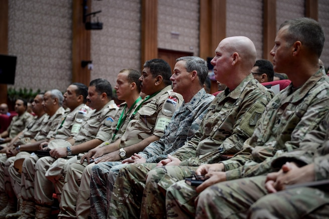 U.S. Air Force Maj. Gen. Jon Mott, U.S. Central Command exercises director, sits alongside Egyptian Maj. Gen. Khaled Kyry, Bright Star 2017 exercise director for the Egyptian armed forces, during the Bright Star 2017 opening ceremony, Sept. 10, 2017, at Mohamed Naguib Military Base, Egypt. The bilateral training, Bright Star, targets strengthening military-to-military relationships between U.S. forces and its Egyptian partners in the CENTCOM area of responsibility. (U.S. Air Force photo by Staff Sgt. Michael Battles)