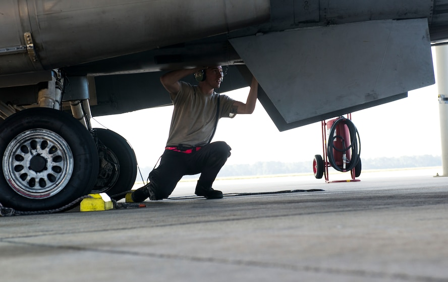 Maintainers assigned to the 20th AMXS worked to evacuate aircraft in preparation for Hurricane Irma
