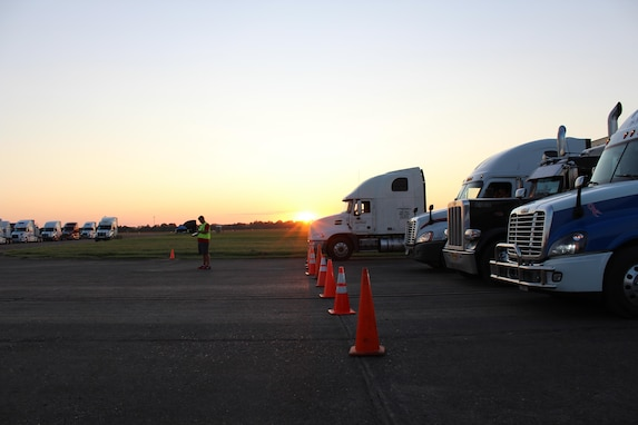 FEMA contracted truck are being staged at the Incident Support Base located at Maxwell Air Force Base, Alabama. These trucks are carrying relief effort items to aid the victims of Hurricane Irma.