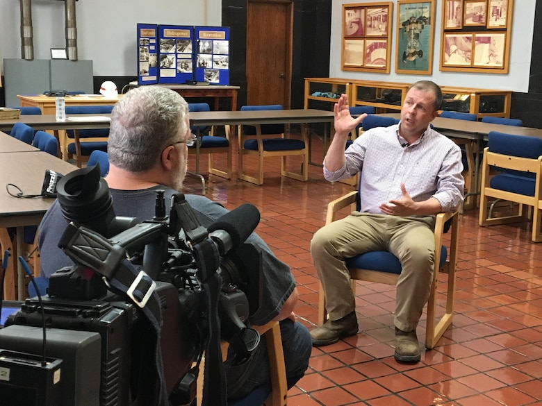 Ed Jones, executive producer for Tennessee Crossroads, interviews Stanley Carter, Dale Hollow Dam Power Plant superintendent, at the dam Sept. 11, 2017.  The program visited the project for an upcoming episode in early 2018 as part of the dam's 75th anniversary, also in 2018. The program airs on Nashville Public Television. (USACE photo by Sondra Carmen)