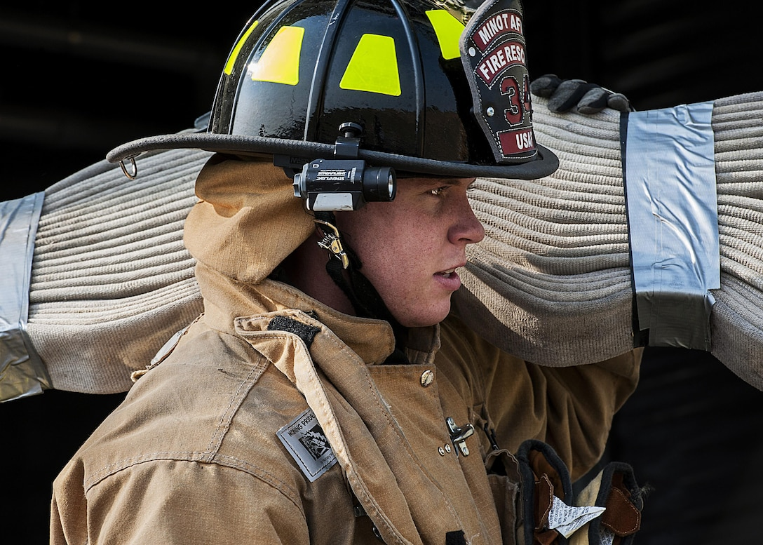 Firefighters with the 5th Civil Engineer Squadron hosted a 9/11 memorial climb in honor of those who lost their lives on 9/11. The firefighters climbed 110 flights of stairs representing each floor of the twin towers.
