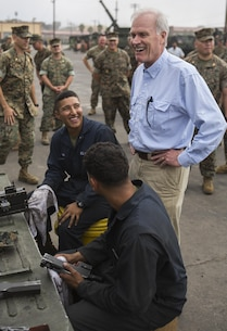 Secretary of the Navy Richard V. Spencer shares a laugh with Marines from 3rd Assault Amphibian Battalion during his visit to the unit at Marine Corps Base Camp Pendleton, Calif., August 30, 2017. Spencer also toured other I MEF units and met with I MEF leadership during his visit. (U.S Marine Corps photo by Lance Cpl. Justin E. Bowles)