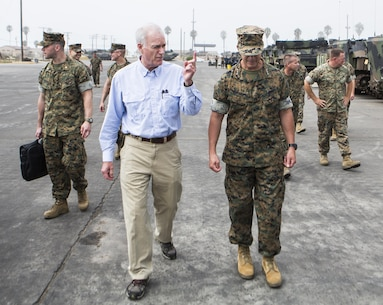 Secretary of the Navy Richard V. Spencer, left, walks with Lt. Gen. Lewis Craparotta, right, commanding general of 1st Marine Expeditionary Force during his visit to 3rd Assault Amphibian Battalion at Marine Corps Base Camp Pendleton, Calif., August 30, 2017. Spencer also toured other I MEF units and met with I MEF leadership during his visit. (U.S Marine Corps photo by Lance Cpl. Justin E. Bowles)