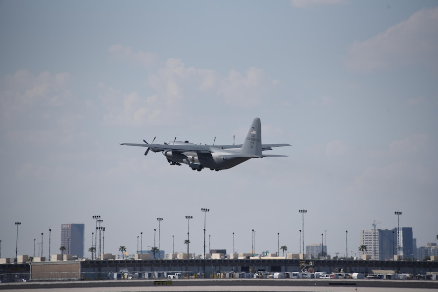 A C-130 Hercules aircraft assigned to the Missouri Air National Guard's 139th Airlift Wing in St. Joseph, Missouri, takes off from Sky Harbor International Airport, Phoenix, Ariz., on Sept. 12, 2017. Airmen with the 161st Air Refueling Wing logistics readiness squadron, small air terminal, deployed to the U.S. Virgin Islands to provide support in response to the aftermath of Hurricane Irma on Sept. 12, 2017. (U.S. Air National Guard photo by Master Sgt. Kelly Deitloff)