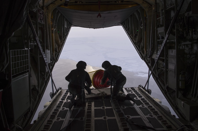 An Air-Deployable Expendable Ice Buoy is deployed in the high Arctic near the North Pole from a Royal Danish Air Force C-130 aircraft