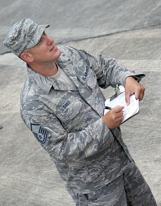 Robins Air Force Base was teeming with activity as Hurricane Irma approached Florida last week. At the FEMA Fuel Staging Area on base, Master Sgt. Jeff Sabo, from Great Falls, Montana and Task Force Americas quality assurance representative, records FEMA's transponder serial numbers to ensure accountability of the fuel movement to FEMA's forward staging base. (U.S. Air Force photo/ED ASPERA)