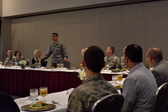 U.S. Air Force Col. Ricky Mills, 17th Training Wing commander, speaks during a luncheon for Honorary Commanders at the Event Center on Goodfellow Air Force Base, Texas, Sept. 11, 2017. The program for Honorary Commanders promotes public awareness of the Air Force's mission and policies. (U.S. Air Force photo by Airman 1st Class Randall Moose/Released)