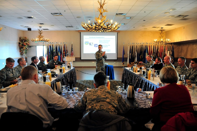 U.S. Air Force Lt. Gen. Kenneth Wilsbach, Alaskan Command commander, briefs Air Force senior leaders from Headquarters Air Force and major commands during an Arctic Security Expedition Sept. 8, 2017, at the Yukon Club on Eielson Air Force Base, Alaska. The purpose of the Arctic Security Expedition is to give senior leaders a chance to gain better understanding of the unique capabilities in the region and to learn about the challenges the units face operating in the harsh climate. (U.S. Air Force photo by Staff Sgt. Jerilyn Quintanilla)