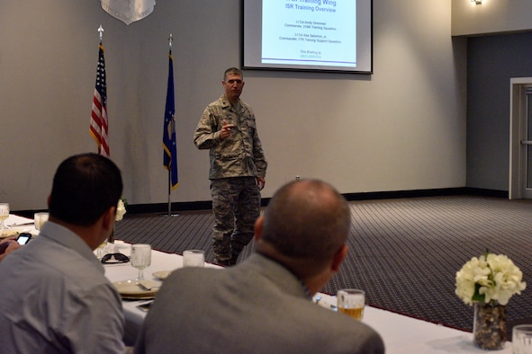 U.S. Air Force Lt. Col. Andy Stremmel, 315th Training Squadron commander, speaks during a luncheon for Honorary Commanders at the Event Center on Goodfellow Air Force Base, Texas, Sept. 11, 2017. Stremmel briefed the honorary commanders on the 315th TRS and its mission. (U.S. Air Force photo by Airman 1st Class Randall Moose/Released)