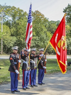 U.S. Marines with the 9th Marine Corps District Color Guard present the colors during a dedication ceremony in Glenview, Illinois, Sept. 12, honoring a Marine Vietnam veteran.  Town residents and city officials attended the bridge dedication ceremony honoring Cpl. Donald W. Bollman, a Purple Heart recipient who was killed in action in South Vietnam March 1, 1967. (U.S. Marine Corps photo by Lance Cpl. Quavaungh Pointer/Released)