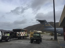 Members of the 14th and 15th Airlift Squadrons deliver a Federal Aviation Administration air traffic control mobile tower from Mountain Home Air Force Base, Idaho, to the Cyril E. King Airport in St. Thomas, Virgin Islands, Sept. 12.