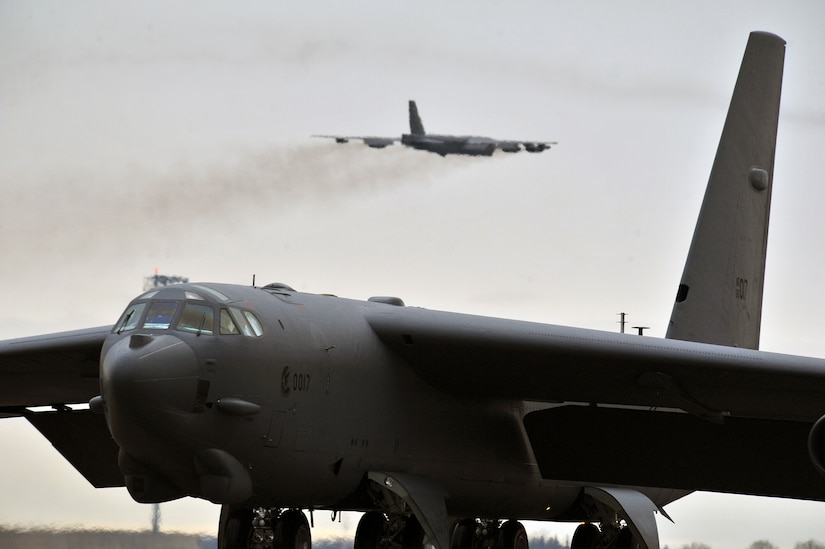 A B-52H Stratofortress bomber takes off