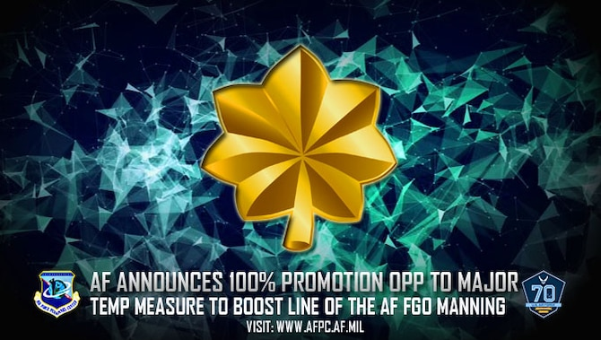 AF announces 100% promotion opp to major; temp measure to boost line of the AF FGO manning