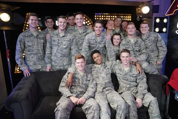 Members of the In the Stairwell pose in the lounge during the Quarter Finals of America's Got Talent. For each performance on AGT, the group wears a different Air Force uniform. (Courtesy photo by Kevin Polizzotto)