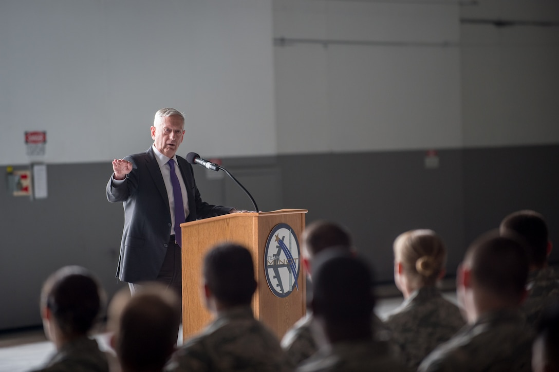Defense Secretary Jim Mattis talks to airmen.