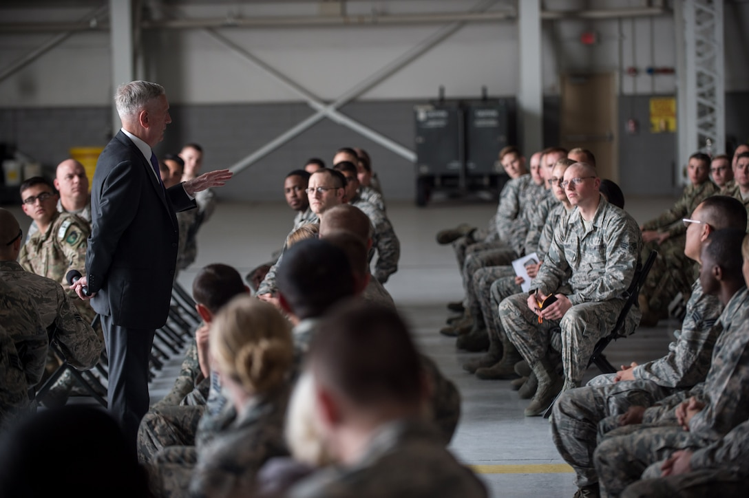 Defense Secretary Jim Mattis answers an airman's question.