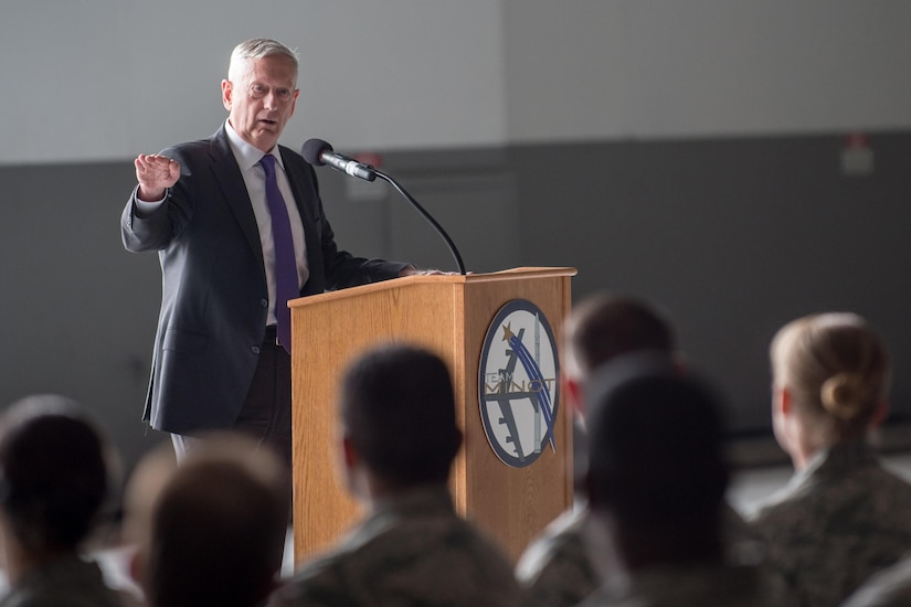 Defense Secretary Jim Mattis talks to airmen.