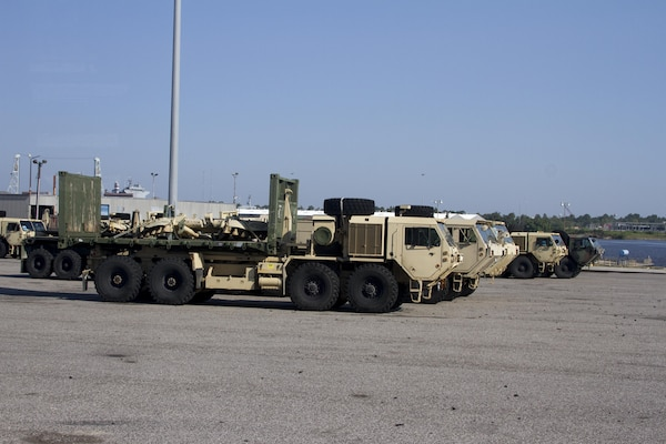 Military equipment is staged at the Port of Beaumont waiting to be transported overseas Sept. 12.