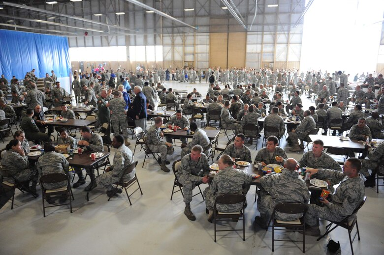 Airmen assigned to the 20th Fighter Wing gather for lunch during a Military Appreciation Picnic at Shaw Air Force Base, S.C., Oct. 16, 2009. The Military Appreciation Day was put together by the Greater Sumter Chamber of Commerce to show appreciation to all military members on base. (U.S. Air Force photo by Senior Airman Matt Davis)