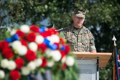 Colonel Sean McBride, the chief of staff for Marine Forces Europe and Africa, speaks during the U.S. Army Garrison Stuttgart Patriot Day Ceremony held at Patch Barracks, Stuttgart, Sept. 11, 2017. (Courtesy Photo)