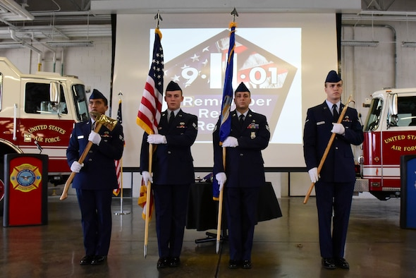 Members of the 4th Fighter Wing Fire Department present the colors during a 9/11 Remembrance Ceremony, Sept. 11, 2017, at Seymour Johnson Air Force Base, North Carolina. Seymour Johnson AFB and Americans across the United States took time to pay homage to those who lost their lives in the deliberate and vicious terrorist attacks. (U.S. Air Force photo by Airman 1st Class Victoria Boyton)