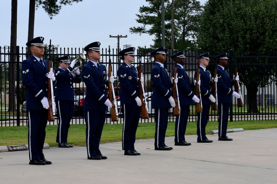 Members of the 4th Fighter Wing honor guard present a 21-gun salute and a bugle playing of TAPS during a 9/11 Remembrance Ceremony, Sept. 11, 2017, at Seymour Johnson Air Force Base, North Carolina. Approximately 100 base members came to pay their respects during the ceremony. (U.S. Air Force photo by Airman 1st Class Victoria Boyton)