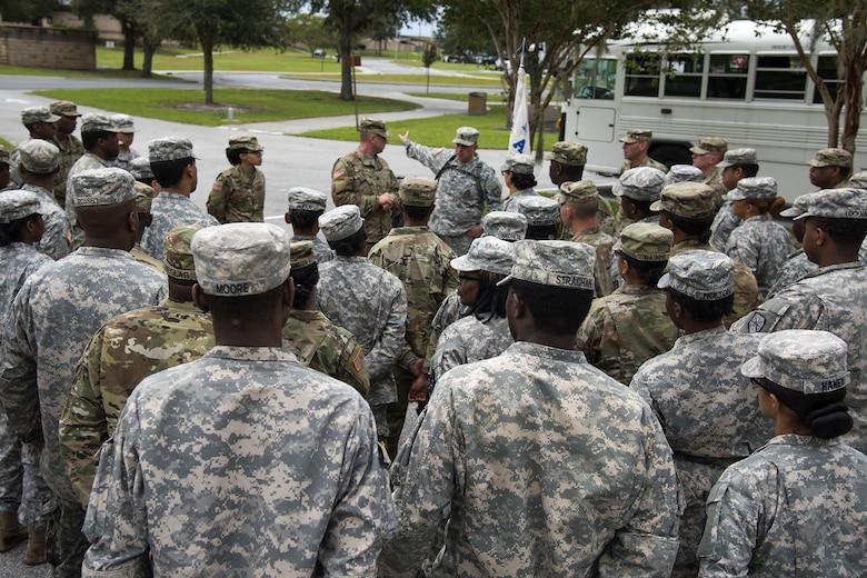 Army Staff Sgt. Timothy Gavitt, Georgia Army National Guard 348th Brigade Support Battalion section sergeant of transportation, briefs Soldiers, Sept. 13, 2017, at Moody Air Force Base, Ga. Units from the 48th Infantry Brigade Combat Team and Joint Task Force 781st Chemical, Radiological, Nuclear, Explosive Response Package stayed the night at Moody before heading to Orlando, Fla., to provide humanitarian relief for the victims of Hurricane Irma. (U.S. Air Force photo by Airman 1st Class Erick Requadt)