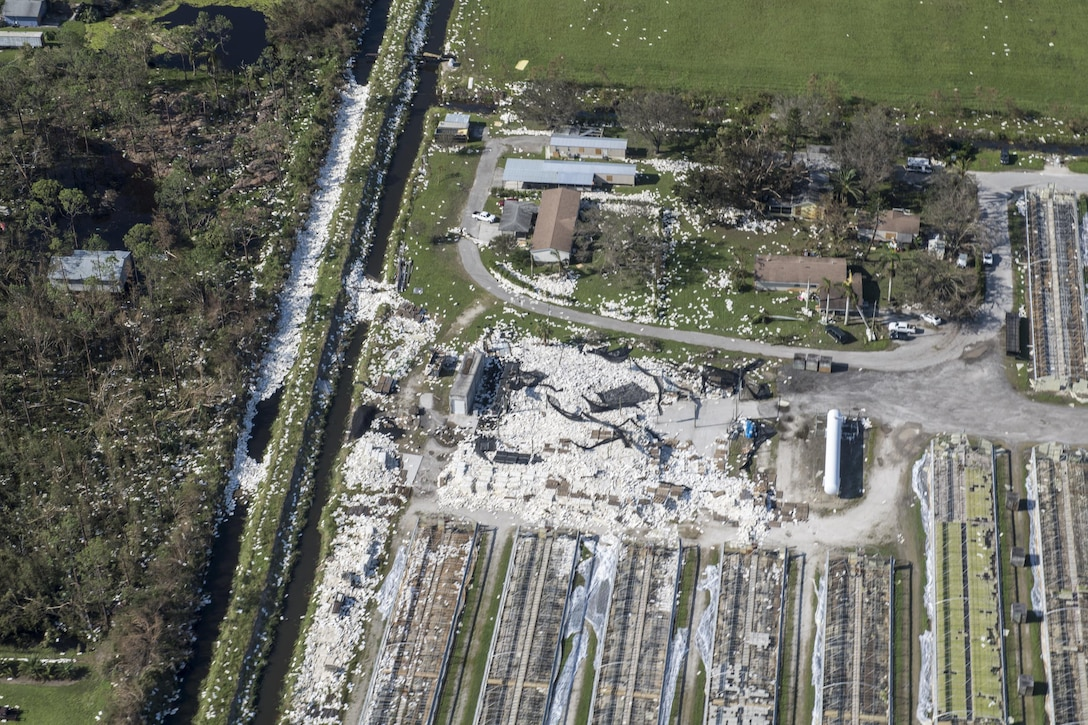 Many buildings and houses show damage from Hurricane Irma, Sept. 13, 2017, in Florida. The 563d Rescue Group prepositioned aircraft and personnel for rescue operations after Hurricane Irma made landfall in Florida. (U.S. Air Force photo by Tech. Sgt. Zachary Wolf)