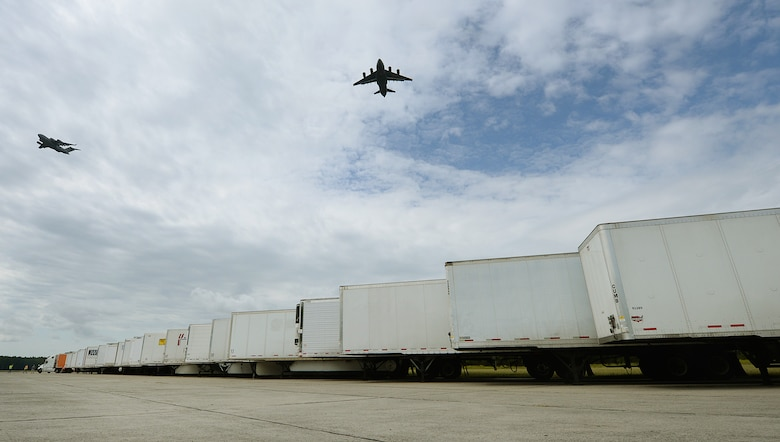 Joint Base Charleston's North Auxiliary Airfield in South Carolina, serves as an installation support base to support Hurricane Irma relief efforts Sept. 13, 2017. The airfield acts as a receiving and distribution staging area for goods and commodities to be transported to hurricane victims here and areas of the southeast over the next few weeks. Airmen of the 43rd Air Mobility Operations Group, Pope Army Airfield, N.C., and the U.S. Department of Homeland Security - Federal Emergency Management Agency (FEMA) are working side-by-side executing relief efforts. (U.S. Air Force photo by Staff Sgt. Christopher Hubenthal)