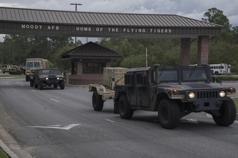 U.S. Army National Guard Members from Joint Task Force 781st Chemical, Biological, Radiological, Nuclear and Explosive Response Package and 48th Infantry Brigade Combat Team depart for Orlando, Sept. 13, 2017, at Moody Air Force Base, Ga. Units from the 48th IBCT and JTF 781st CERFP stayed the night at Moody before heading to Orlando, Fla., to provide humanitarian relief for the victims of Hurricane Irma. (U.S. Air Force photo by Staff Sgt. Eric Summers Jr.)