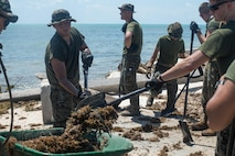 U.S. Marines with Battalion Landing Team 2nd Battalion, 6th Marine Regiment, 26th Marine Expeditionary Unit (MEU), conducted cleanup operations in the streets of Key West, Fla., Sept. 12, 2017. Marines and Sailors with the 26th MEU assisted the residents of Key West by clearing debris from the streets in support of Federal Emergency Management Agency in the aftermath of Hurricane Irma.