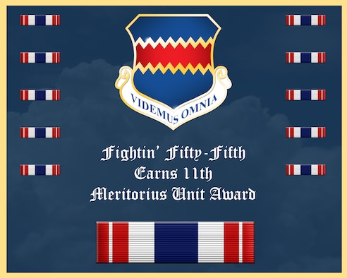 The 55th Wing has earned Air Combat Commands 2017 Meritorious Unit Award, this is the 11th time the Fightin' Fifty-Fifth has won the award.