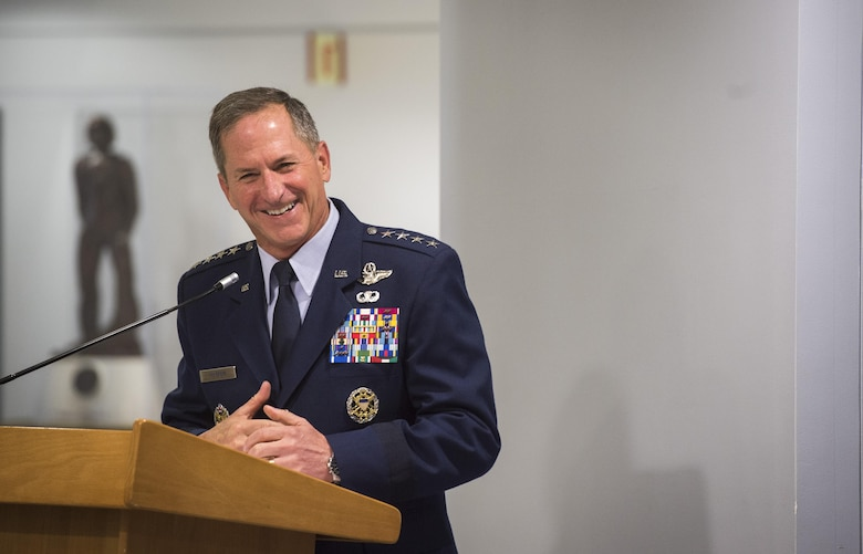 Air Force Chief of Staff Gen. David L. Goldfein speaks during the official portrait unveiling for retired Gen. Mark A. Welsh III, former Air Force chief of staff, in the Pentagon, Washington, D.C., Sept. 14, 2017. Welsh served as the 20th chief of staff from 2012 to 2016. (DoD photo by Tech. Sgt. Brigitte N. Brantley)