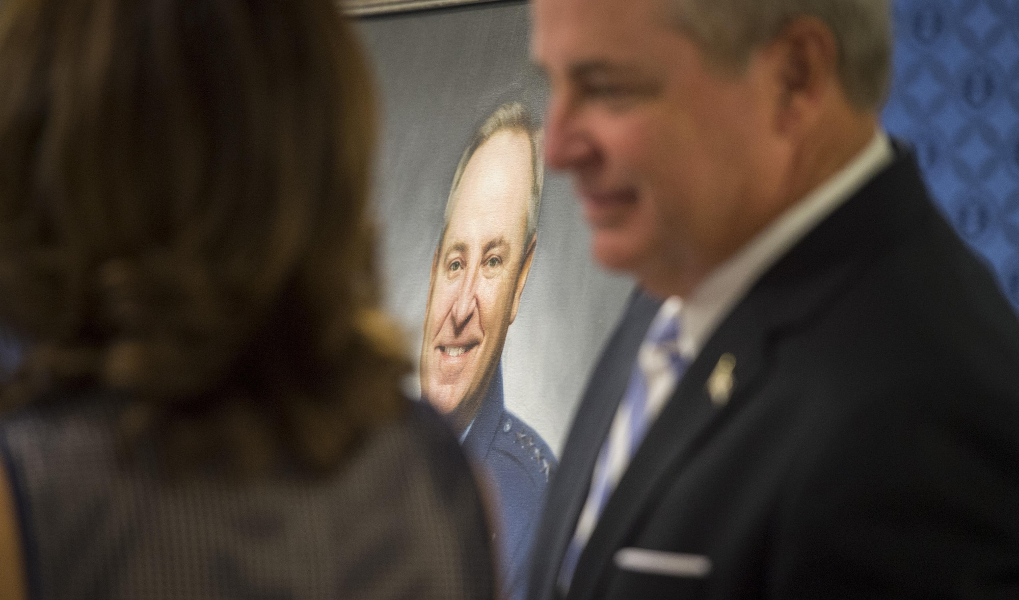 The official portrait of retired Gen. Mark A. Welsh III, former chief of staff of the Air Force, is unveiled during a ceremony at the Pentagon, Washington, D.C., Sept. 14, 2017. The portrait will be on display in the Pentagon's Arnold Corridor alongside the portraits of the other former Air Force chiefs of staff. (DoD photo by Tech. Sgt. Brigitte N. Brantley)
